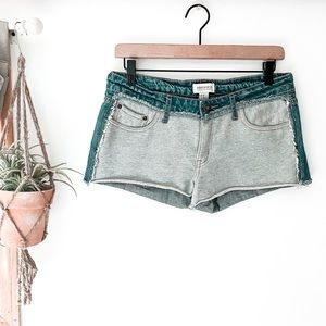 Forever 21 Jean Shorts With Sweats Detail